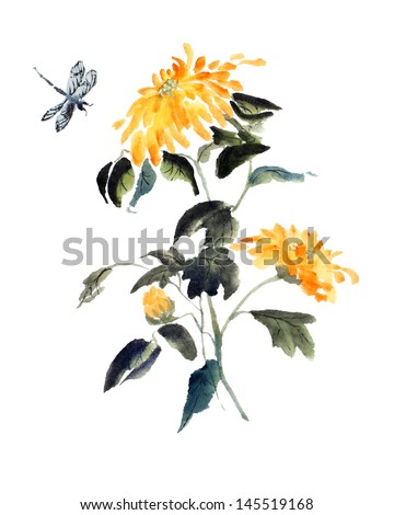 Original art watercolor painting yellow fall stock illustration original art watercolor painting of yellow fall flower with dragonfly mightylinksfo