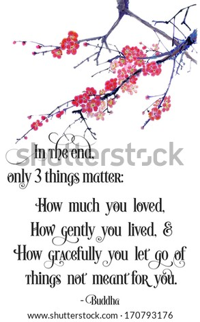 original art, watercolor painting with inspirational message about what matters - stock photo