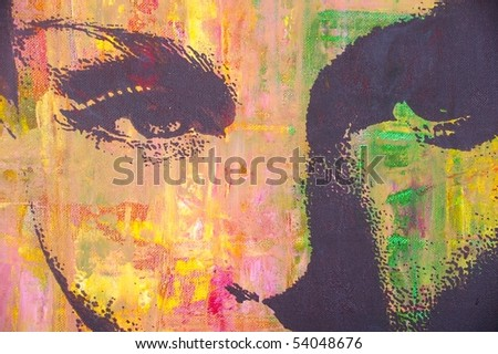original artwork oil painting on stretched canvas - stock photo
