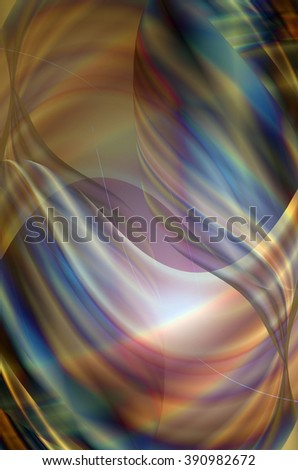 Original background collected from twisted and overlay transparent rainbow wavy stripes  - stock photo