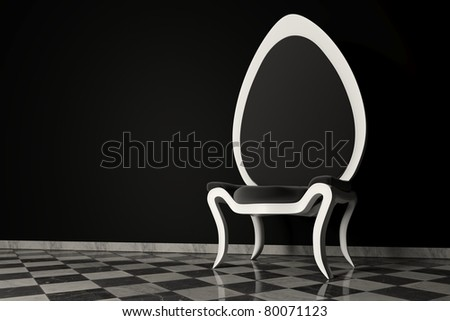 Original black and white armchair on a marble floor and a black wall behind - stock photo