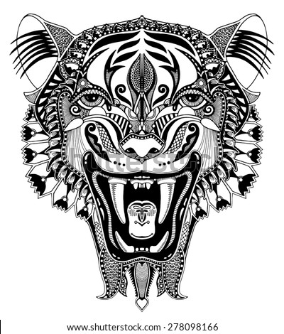 original black and white head tiger drawing with the opened fall, isolated on white background, perfect for tattoo design, raster version - stock photo