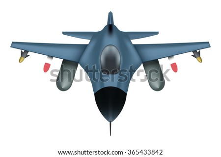 Original Bomber aircraft in the sky with a full ammunition missiles. Air Force.  illustration Isolated on white background.  - stock photo