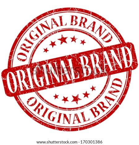 Original brand grunge red round stamp - stock photo