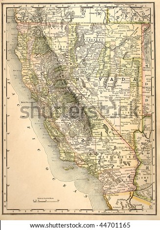 Original California and Nevada state maps, colored, dated 1889. - stock photo