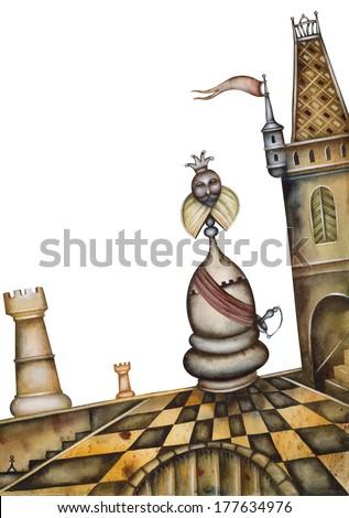 Original Chess Illustration - stock photo