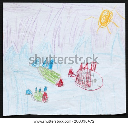 Original child's drawing of three fishes in a blue sea drawing by a five-year-old girl.  - stock photo