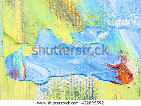 original colorful oil painting brush strokes texture background. sweet tone - stock photo