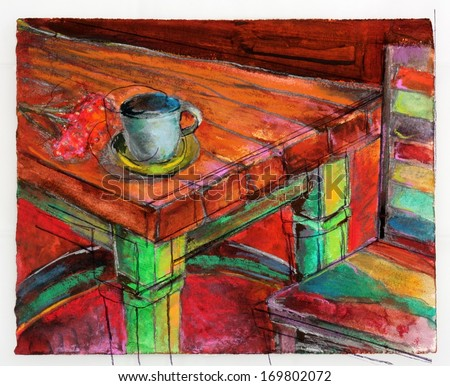 Original Colorful Painting of a Kitchen or Cafe Seating Area with a Table, Chair, and Tea Cup - stock photo