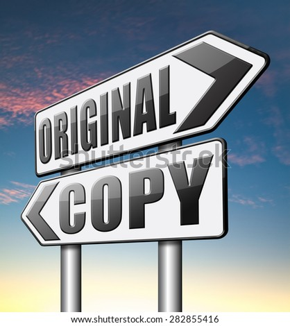 original copycat cheap and bad copy or unique top quality product guaranteed   - stock photo