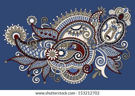 Traditional Flower Line Drawing : Original digital draw line art ornate stock illustration 153212702