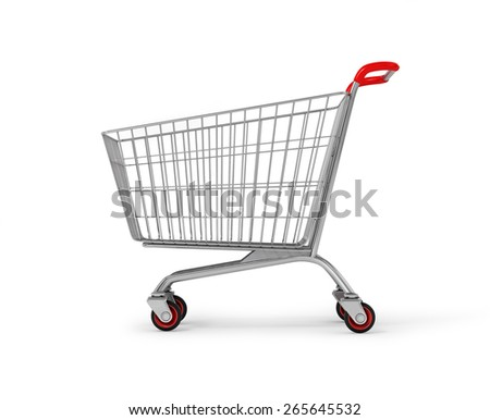 Original empty shopping cart, side view, isolated on white background. - stock photo