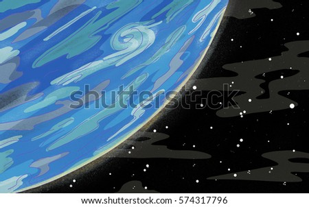 Original Exotic fantasy alien blue gas giant planet.  Space scene environment. Video Game, Digital CG Artwork, Concept Illustration. US Animated Cartoon Style Background