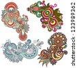 original hand draw line art ornate flower design. Ukrainian traditional style, raster version - stock photo