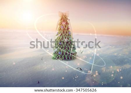 Original handmade Christmas tree in the snow - stock photo