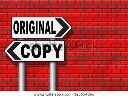 original idea or copycat cheap and bad copy or unique top quality product guaranteed road sign   - stock photo