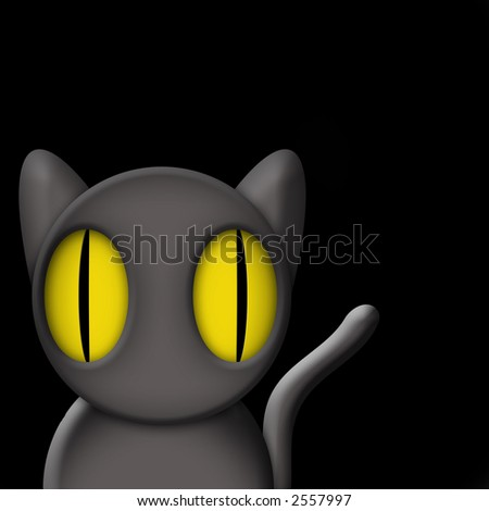 Original illustration of black cat at night with room for designer to drop in text or customize surrounding scene graphically. - stock photo