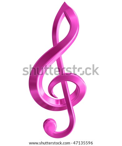 Original isolated illustration of a pink music symbol - stock photo