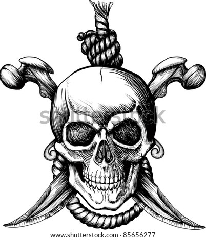 Original Jolly Rogger Skull with two knifes, bones and rope for hanging. Raster version - stock photo