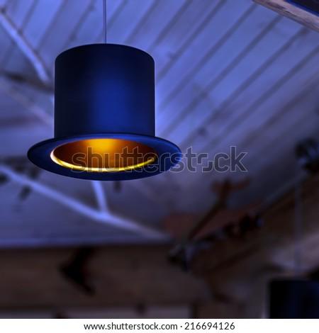 Original lamp in the mini bar - stock photo