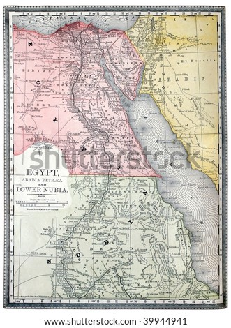 Original map of Egypt and Nubia, line colored, printed in 1890. - stock photo