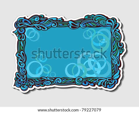 Original marine style frame with elements of the waves for design and decoration (elegant sticker) - stock photo