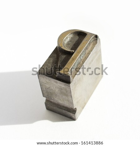 Original Metal Letter P On White Background - stock photo