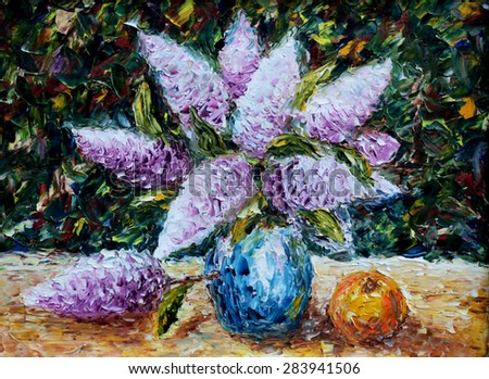 Original oil painting bouquet of flowers, beautiful lilac on canvas. Still life. Palette knife artwork. Impressionism. Art - stock photo