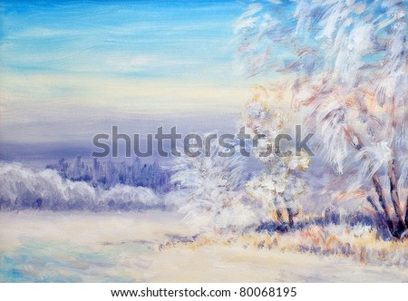 Original oil painting of a winter landscape - stock photo