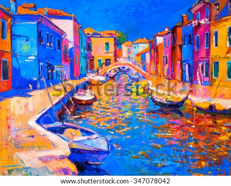 Original oil painting of beautiful Venice, Italy on canvas. Modern Impressionism  - stock photo