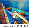 Original oil painting of boat and jetty(pier) on canvas.Sunset over ocean.Modern Impressionism - stock photo