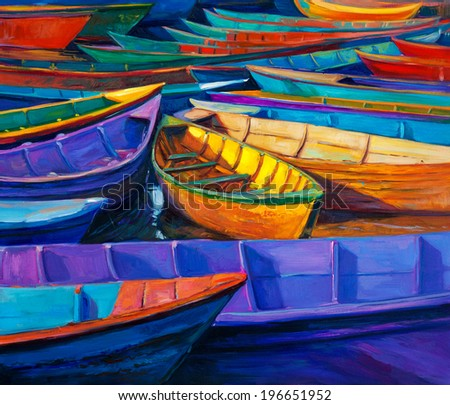 Original oil painting of boats and jetty(pier) on canvas. Sunset over ocean.Modern Impressionism  - stock photo