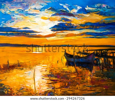 Original oil painting of boats and sea on canvas. Sunset over ocean. Modern Impressionism by Nikolov - stock photo