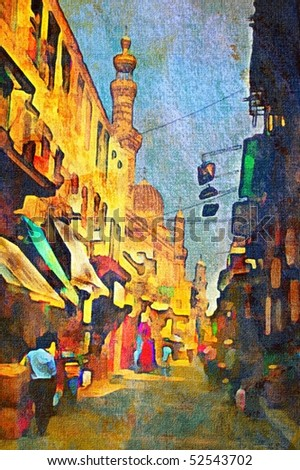 original oil painting of egypt cairo market place