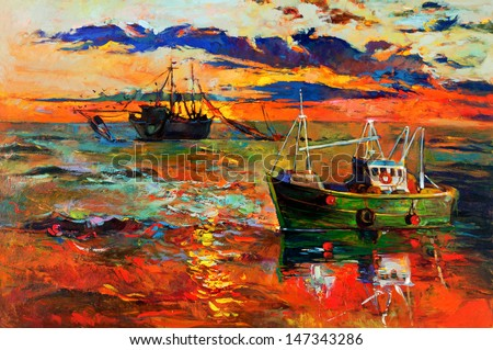 Original oil painting of fishing ships and sea on canvas.Sunset over ocean.Modern Impressionism - stock photo