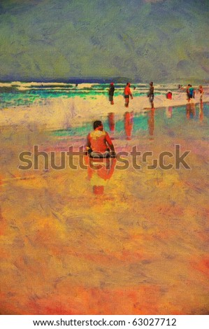 original oil painting of gold coast surfers paradise beach people - stock photo