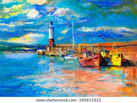 Original oil painting of  lighthouse and boats on canvas.Rich golden  Sunset over ocean.Modern Impressionism - stock photo