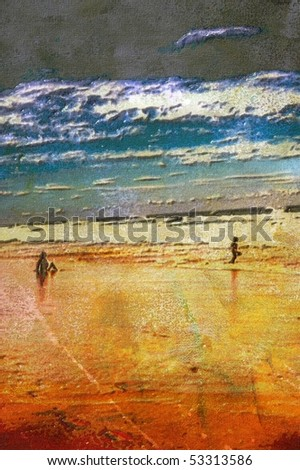 original oil painting of mother and child on beach