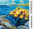 Original oil painting of  ocean(sea) and cliffs on canvas.Modern Impressionism - stock photo