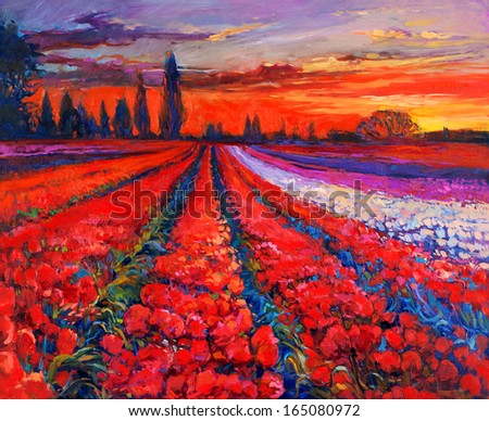Original oil painting of Opium poppy( Papaver somniferum) or tulip  field in front of beautiful sunset  on canvas.Modern Impressionism - stock photo