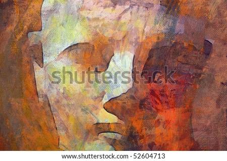 original oil painting of Queen Hatshepsut statue - stock photo