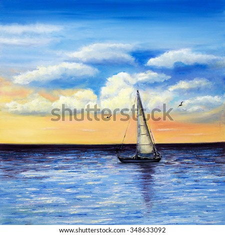 Original oil painting of sailing ship or boat and sea on canvas.Rich Golden Sunset over ocean.Modern Impressionism,modernism,marinism