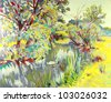 original oil painting of summer landscape. I am author of this illustration - stock vector