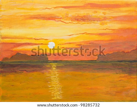 original oil painting of the Beautiful sunrise - stock photo