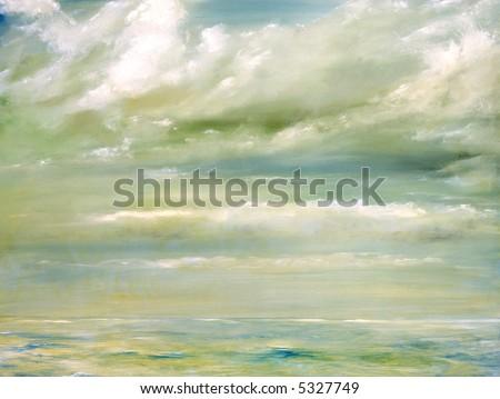 Original Oil Painting of The malibu Beach shore - stock photo