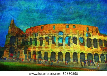 original oil painting of the roman colosseum - stock photo