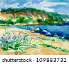 Original oil painting of  virgin or untrodden beach(coast) and cliffs on canvas.Modern Impressionism - stock photo
