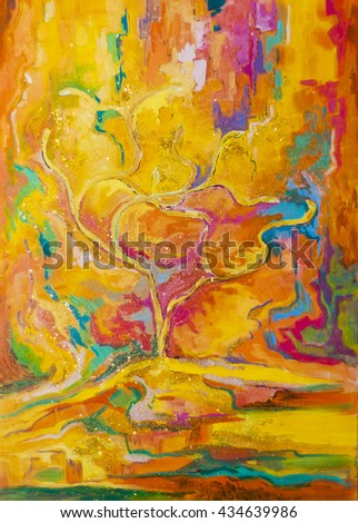 Original oil painting on canvas.Abstracts - Tree of Greed - stock photo