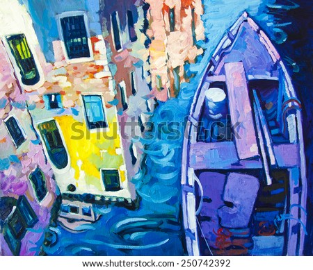 Original oil painting on canvas.Beautiful reflections in the canals of Venice with purple boat. - stock photo