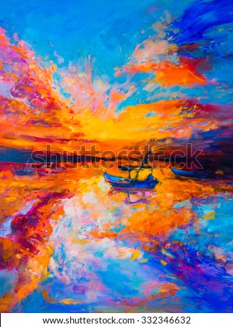 Original Oil Painting on Canvas. Boats, sunset and sea. Modern impressionism - stock photo